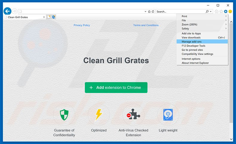 Removing Clean Grill Grates ads from Internet Explorer step 1