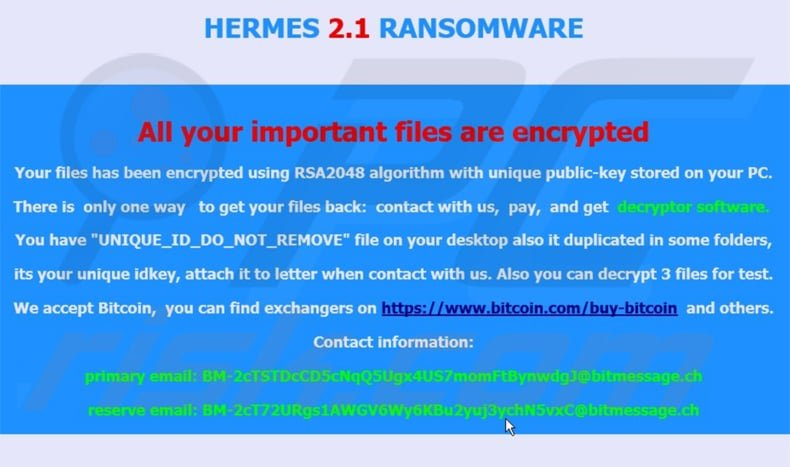 hermes 2.1 updated ransomware
