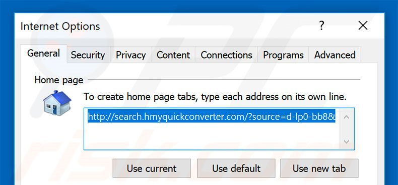 Removing search.hmyquickconverter.com from Internet Explorer homepage