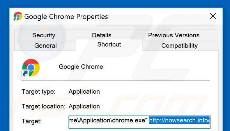 Removing nowsearch.info from Google Chrome shortcut target step 2