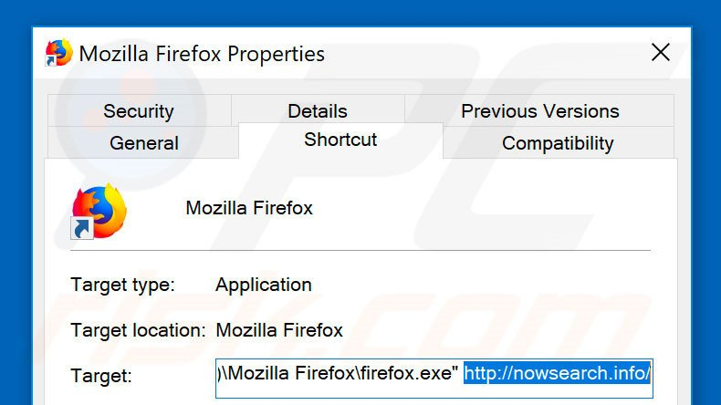 Removing nowsearch.info from Mozilla Firefox shortcut target step 2