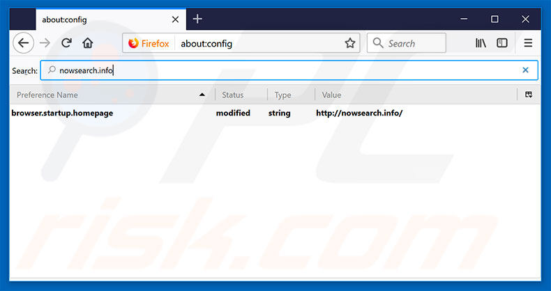 Removing nowsearch.info from Mozilla Firefox default search engine