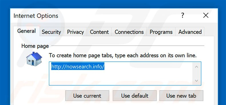 Removing nowsearch.info from Internet Explorer homepage