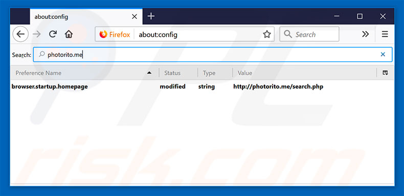 Removing photorito.me from Mozilla Firefox default search engine