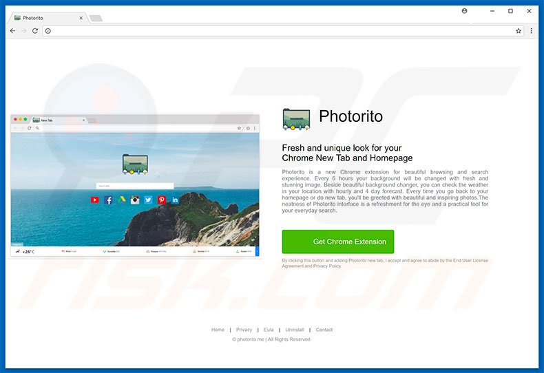 Website used to promote Photorito browser hijacker