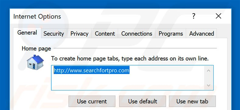 Removing searchfortpro.com from Internet Explorer homepage