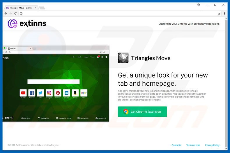Website used to promote Triangles Move browser hijacker