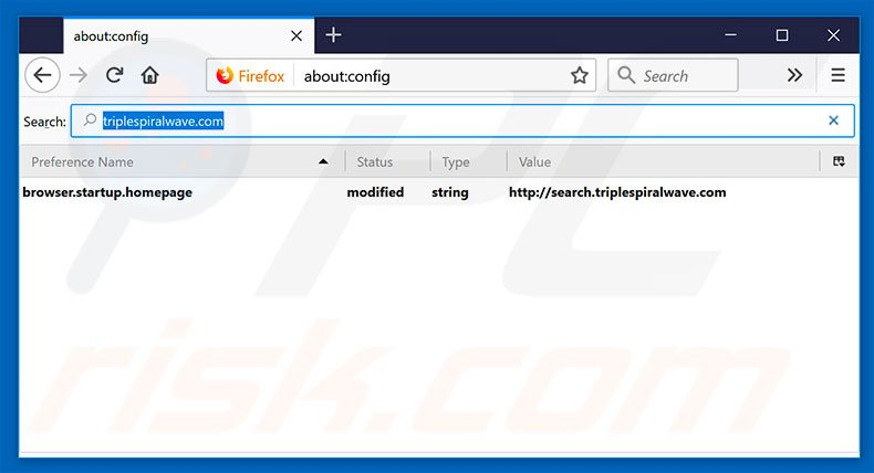 Removing search.triplespiralwave.com from Mozilla Firefox default search engine