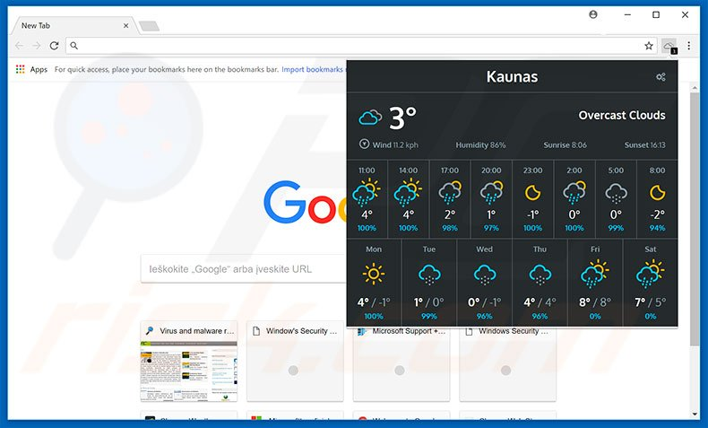 Weather For Chrome Adware