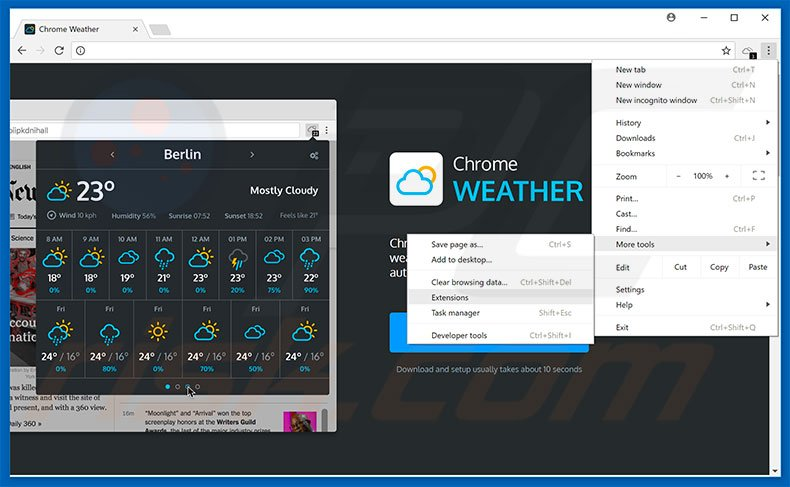 Removing Weather For Chrome  ads from Google Chrome step 1