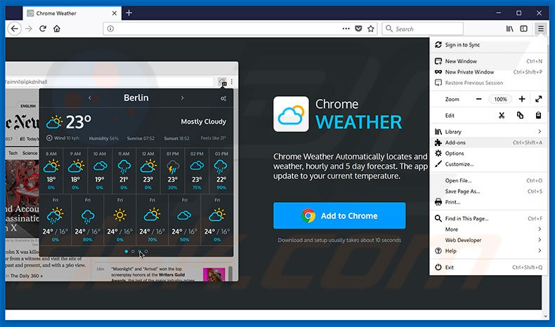 Removing Weather For Chrome ads from Mozilla Firefox step 1