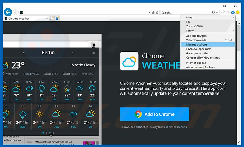Removing Weather For Chrome ads from Internet Explorer step 1