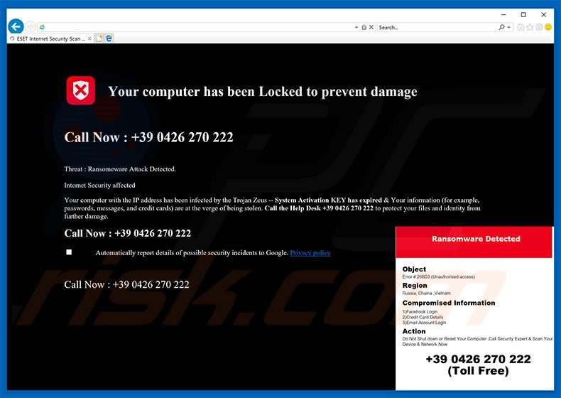 Your Computer Has Been Locked To Prevent Damage adware
