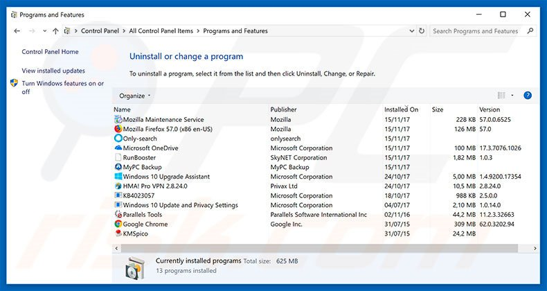 Your Device Is Under Threat adware uninstall via Control Panel