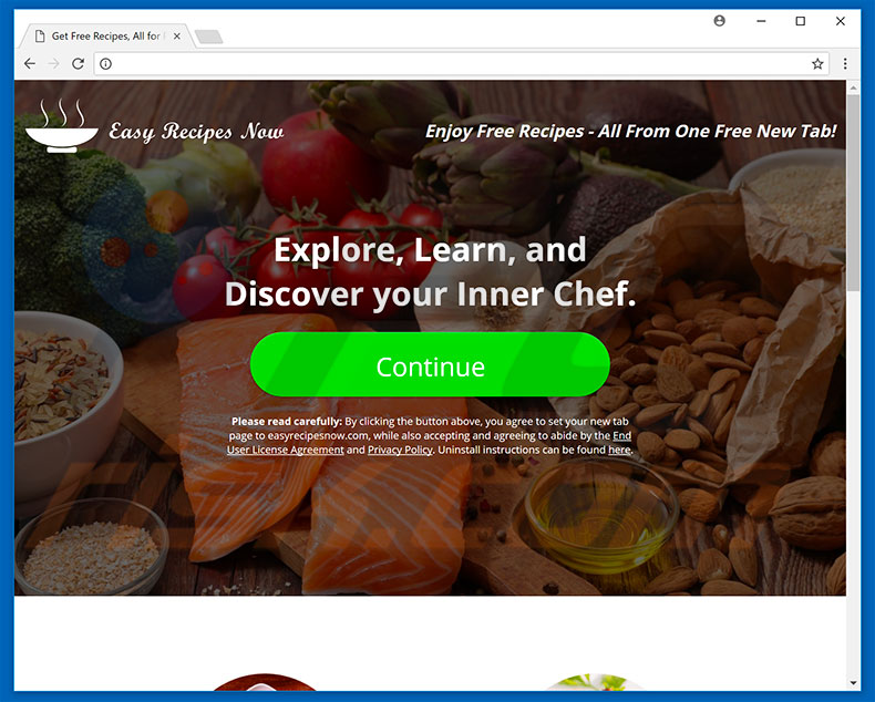 Website used to promote Easy Recipes Now browser hijacker