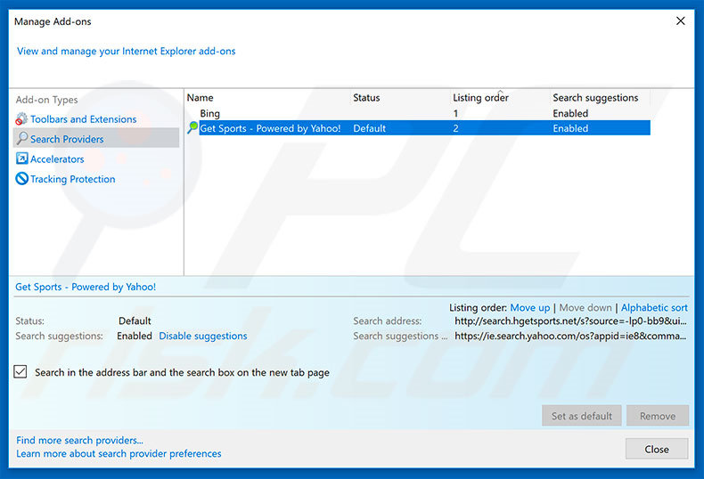 Removing search.hgetsports.net from Internet Explorer default search engine