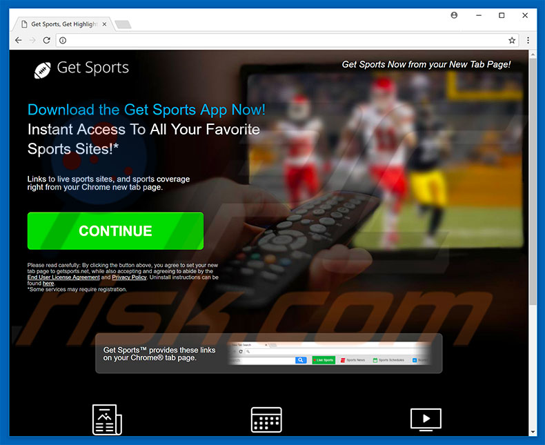 Website used to promote Get Sports browser hijacker