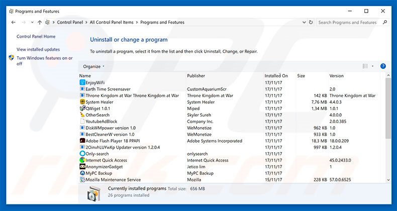 search.hidemysearch.com browser hijacker uninstall via Control Panel
