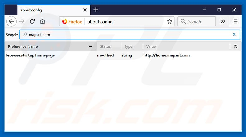 Removing home.mapsnt.com from Mozilla Firefox default search engine