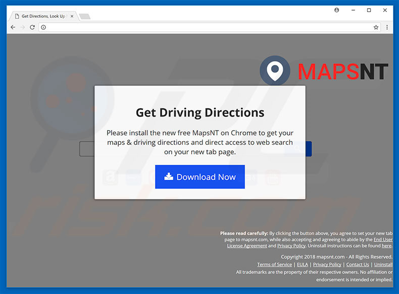 Website used to promote MapsNT browser hijacker