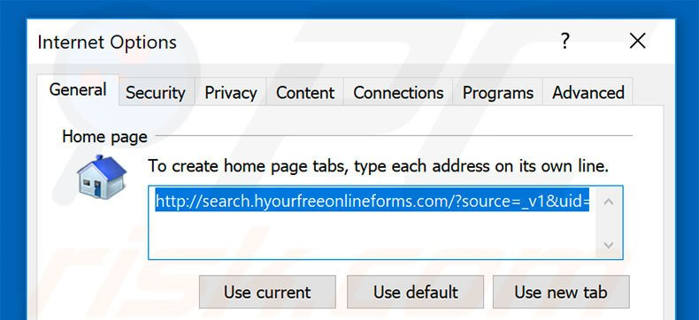 Removing search.hyourfreeonlineforms.com from Internet Explorer homepage