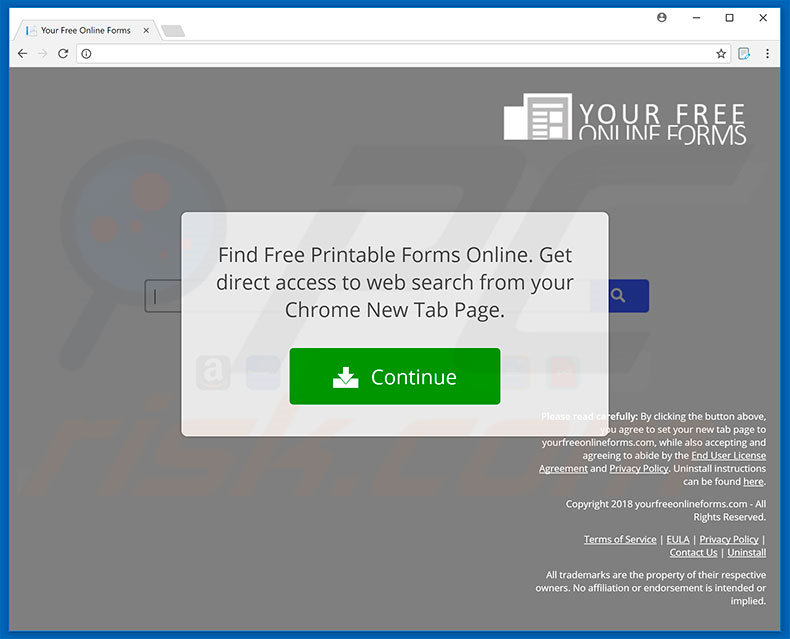 Website used to promote Your Free Online Forms browser hijacker