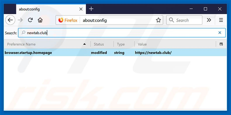 Removing newtab.club from Mozilla Firefox default search engine