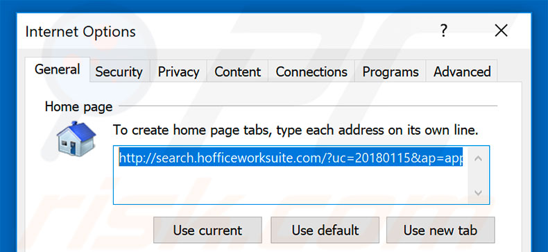 Removing search.hofficeworksuite.com from Internet Explorer homepage