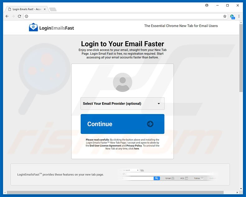Website used to promote Login Email Fast browser hijacker
