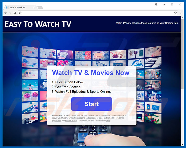 Website used to promote Easy To Watch TV browser hijacker