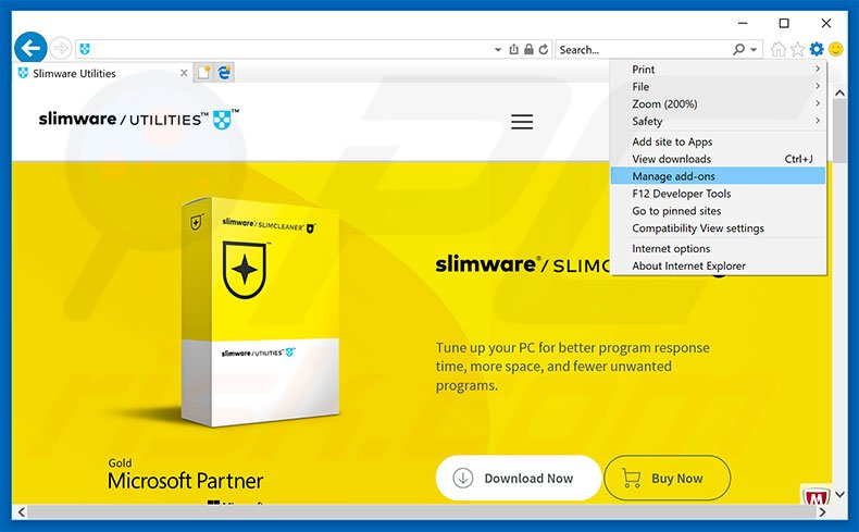 Removing SlimCleaner ads from Internet Explorer step 1