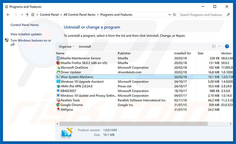 Wise System Mechanic adware uninstall via Control Panel