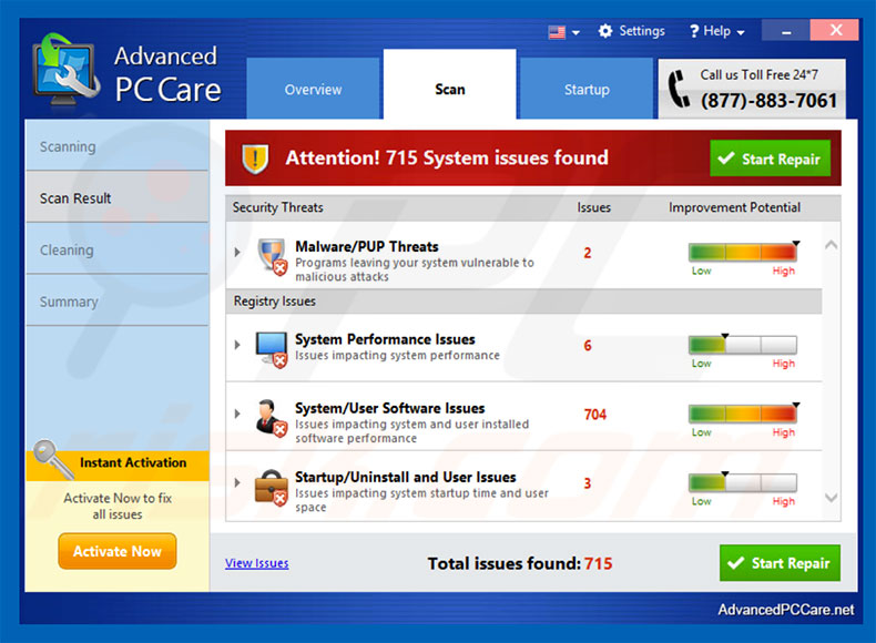 Advanced PC Care potentially unwanted program