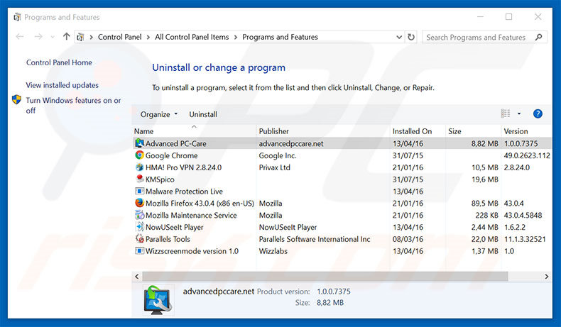 Advanced PC Care adware uninstall via Control Panel
