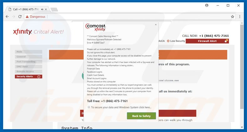 How to uninstall Comcast Cable Warning Alert Scam - virus