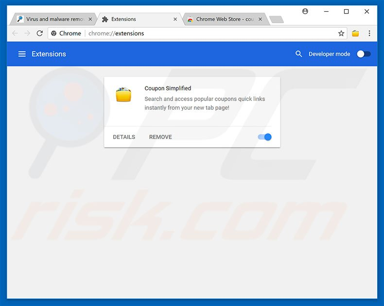 Removing Free Malware Removal Tool ads from Google Chrome step 2