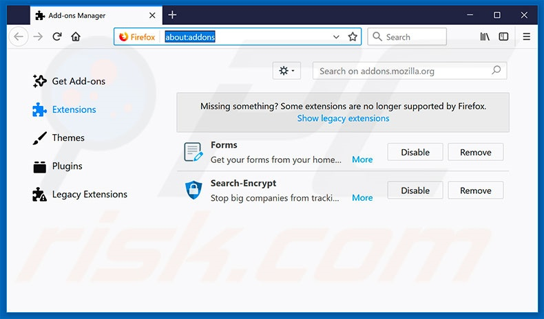 Removing search.funmediatabsearch.com related Mozilla Firefox extensions