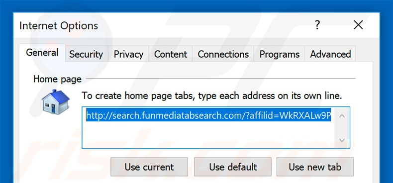 Removing search.funmediatabsearch.com from Internet Explorer homepage