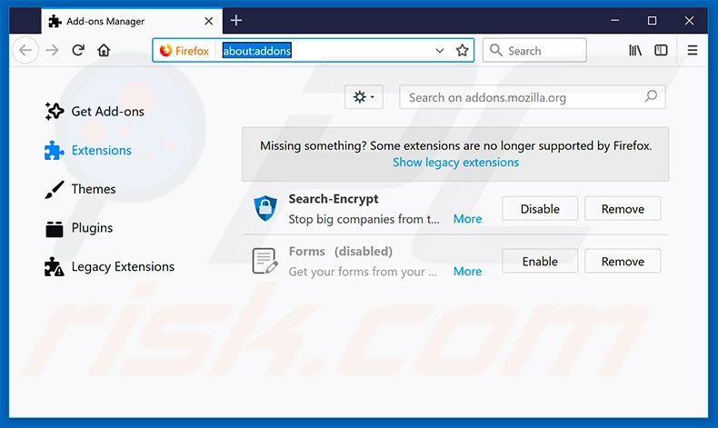Removing search.funsocialtabsearch.com related Mozilla Firefox extensions