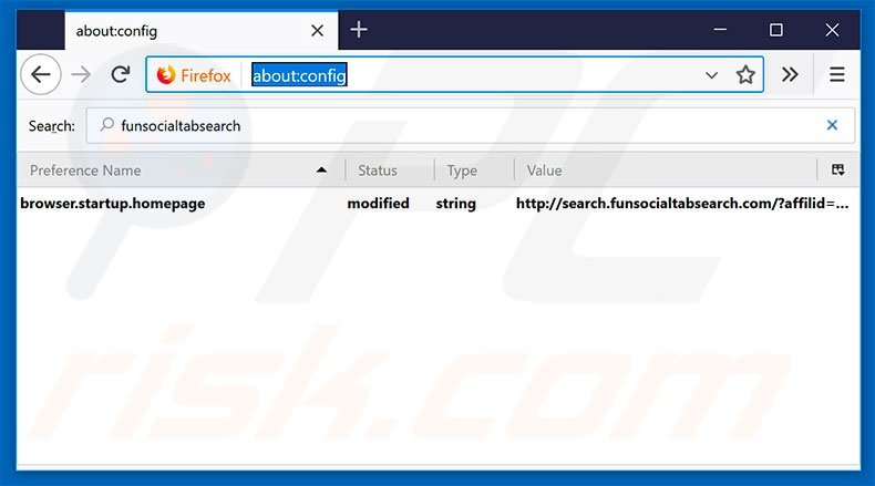 Removing search.funsocialtabsearch.com from Mozilla Firefox default search engine
