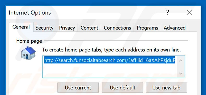 Removing search.funsocialtabsearch.com from Internet Explorer homepage