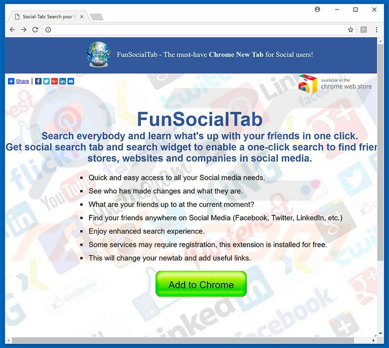 Website used to promote FunSocialTab browser hijacker