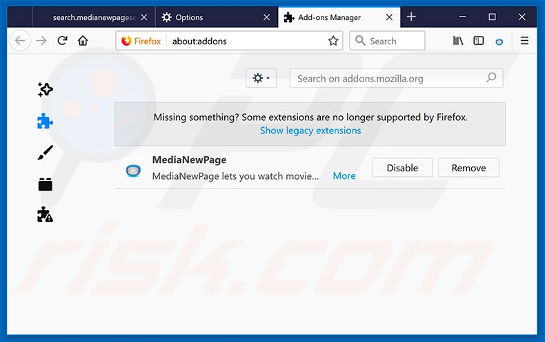 Removing go.mennythanks.com related Mozilla Firefox extensions