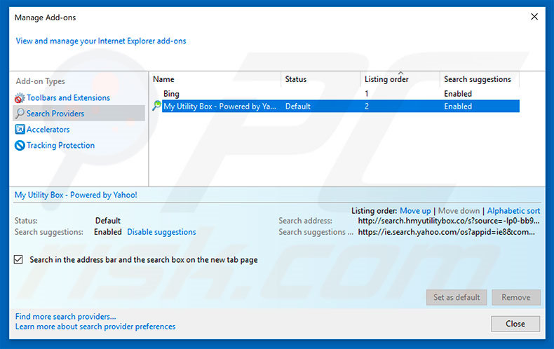 how to set my default search engine in internet explorer