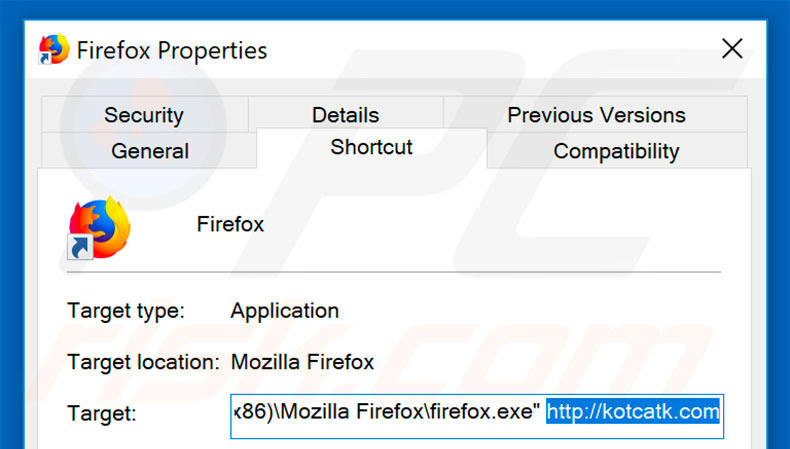 Removing kotcatk.com from Mozilla Firefox shortcut target step 2