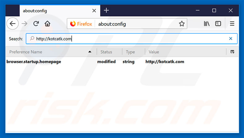 Removing kotcatk.com from Mozilla Firefox default search engine