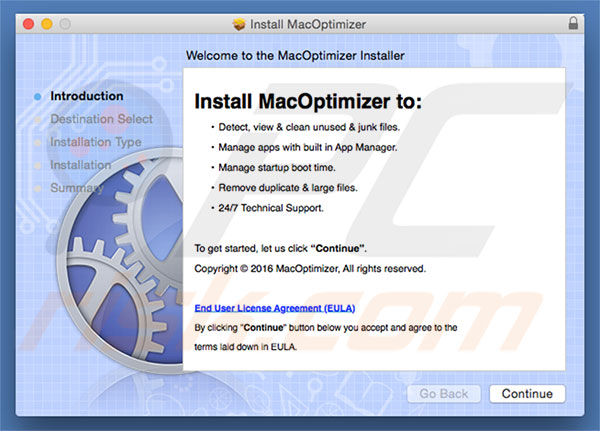 Delusive installer used to promote MacOptimizer