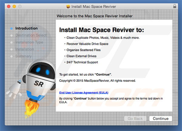 Delusive installer used to promote Mac Space Reviver