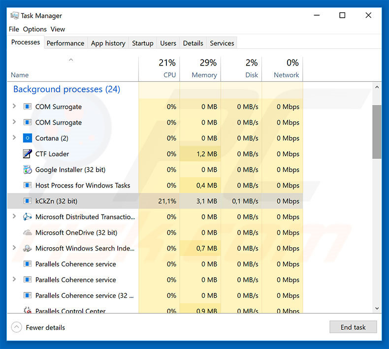 MOLE66 ransomware in task manager