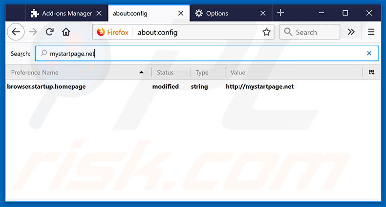Removing mystartpage.net from Mozilla Firefox default search engine